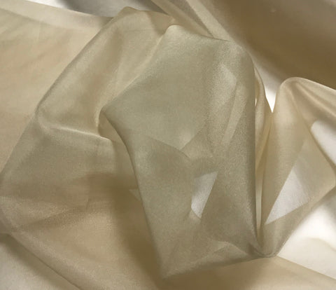 Beige - Silk Organza Fabric