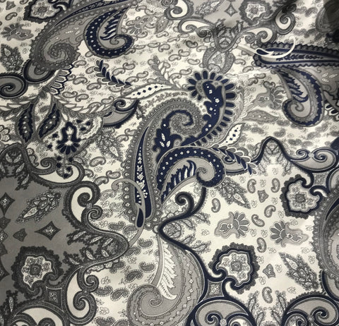 Navy & Silver Paisley - Silk Charmeuse Fabric