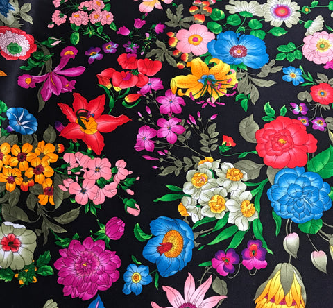 Flower Garden on Black - Silk Charmeuse Fabric