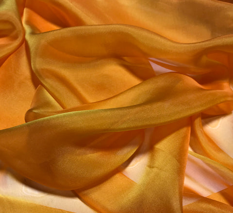 Golden Orange - Iridescent Silk Chiffon