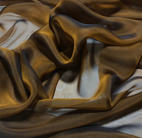 Burnt Orange - Iridescent Silk Chiffon