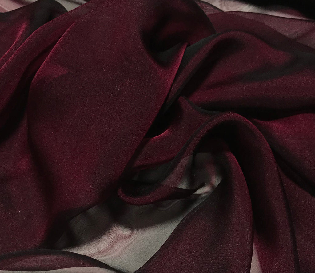 Smoky Cranberry Red - Iridescent Silk Chiffon
