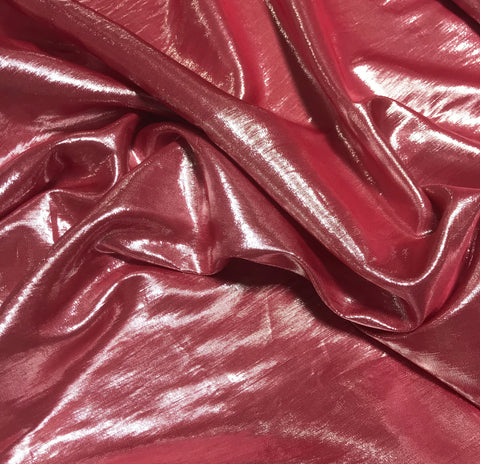 Cherry Red - Hand Dyed Silver Metallic Silk Lame` Fabric