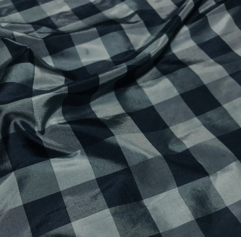 Blue Check - Silk Taffeta Fabric