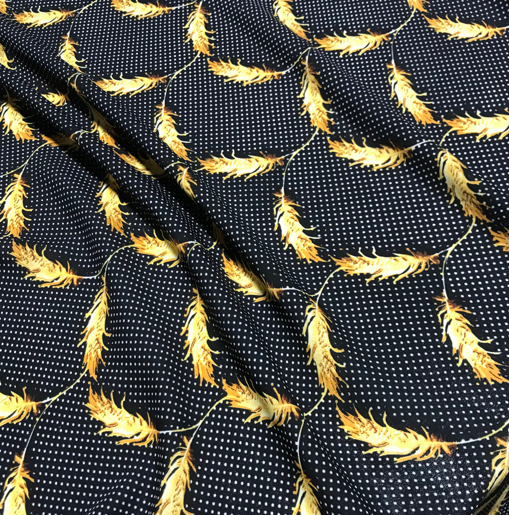 Black Polka Dot with Feathers - Crepe de Chine Fabric