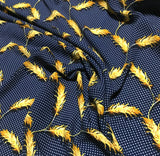 Navy Blue Polka Dot with Feathers - Crepe de Chine Fabric