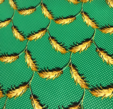 Green Polka Dot with Feathers - Crepe de Chine Fabric