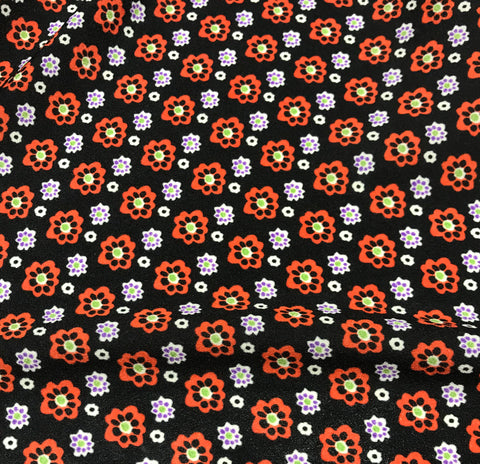 Black & Orange Floral - Crepe de Chine Fabric