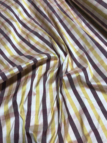 Gold & Plum Plaid - Silk Dupioni Fabric
