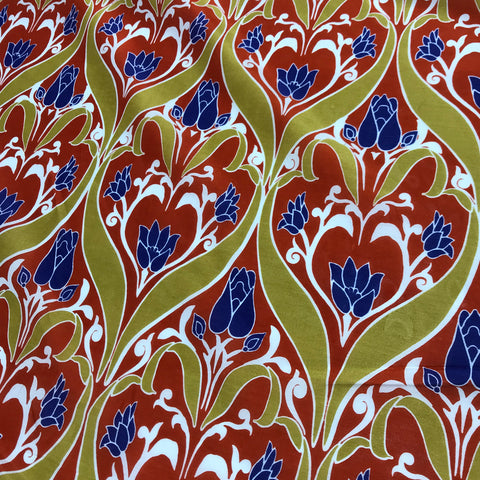 Red, Gold & Blue Art Nouveau Floral - Silk/Cotton Voile Fabric