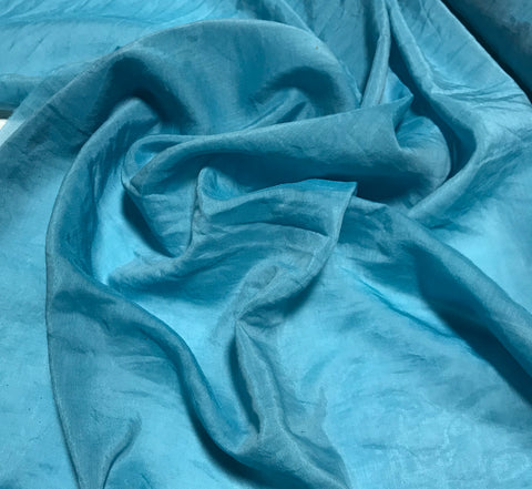 Teal Blue - Hand Dyed Silk/Cotton Voile