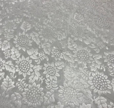 Burnout Devore Satin Fabric - White Sunflowers