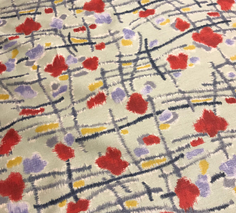 Abstract Cross Hatch Floral - Silk/Cotton Satin Sateen Fabric