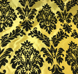 Bright Yellow with Large Black Damask - Flocked Velvet Faux Silk Taffeta Fabric