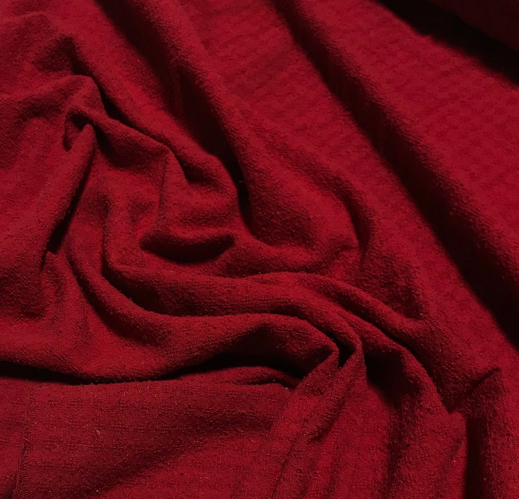 Scarlet Red - Hand Dyed Checkered Weave Silk Noil