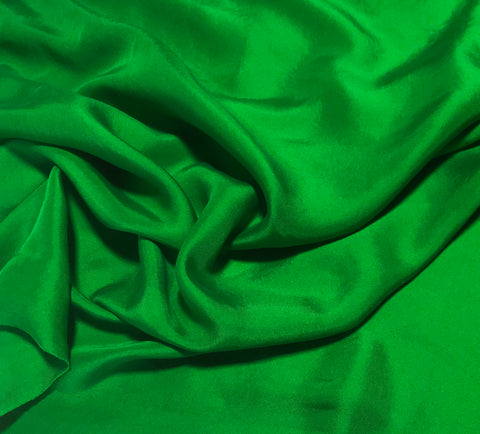 Bright Kelly Green - Hand Dyed Silk Twill
