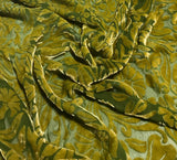 Yellow Green Floral - Hand Dyed Burnout Silk Velvet