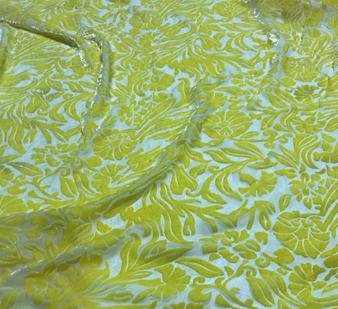 Sunshine Yellow Floral - Hand Dyed Burnout Silk Velvet