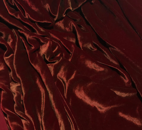 Antique Gold on Ruby Red - Hand Painted Silk Velvet Fabric