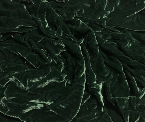Muted Forest Green - Hand Dyed Silk Velvet