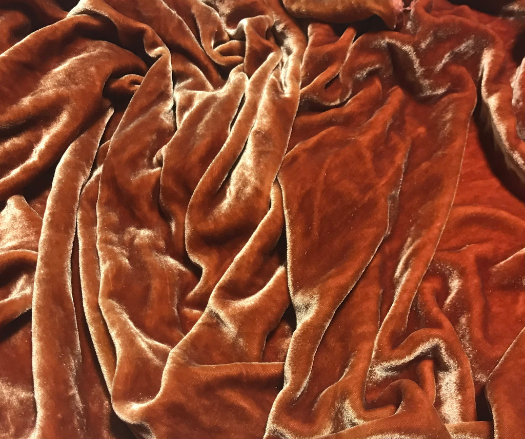Rose Gold - Hand Dyed Silk Velvet