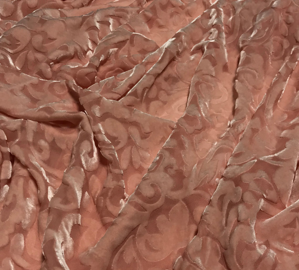Peach Scroll - Hand Dyed Burnout Silk Velvet