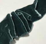 Hand Dyed Deep Teal Green Silk Velvet Ribbon ( 3 Widths to choose from)
