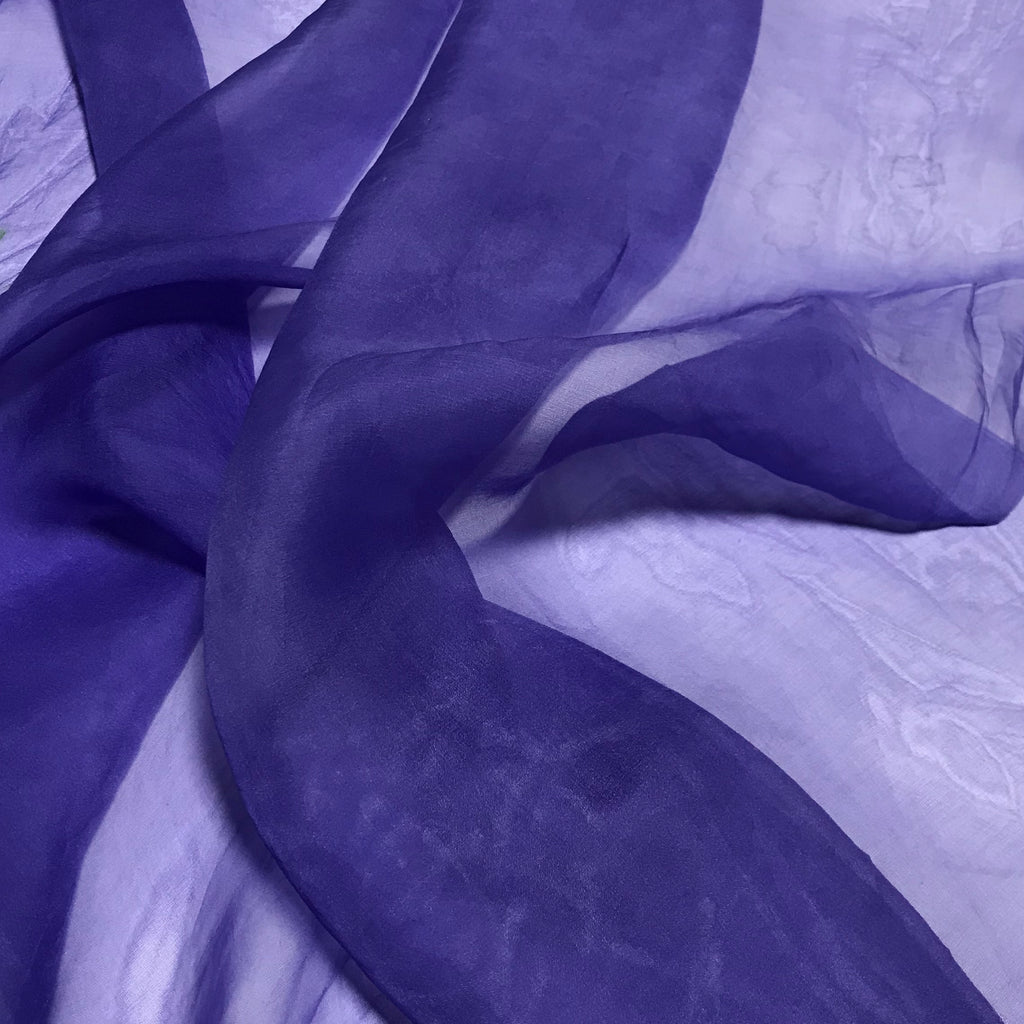 Iris Purple - Hand Dyed Silk Organza