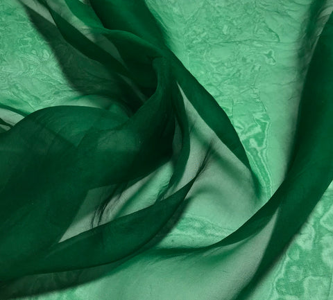Emerald Green - Hand Dyed Silk Organza