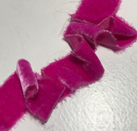 Hand Dyed Magenta Pink Silk Velvet Ribbon ( 3 Widths to choose from)