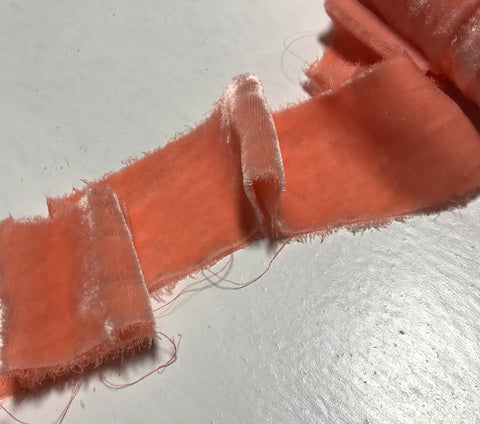 Hand Dyed Pink Peach Silk Velvet Ribbon ( 3 Widths to choose from)