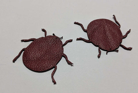 Beetle - Laser Cut Shapes 2 Pc - Dark Red Lambskin Leather
