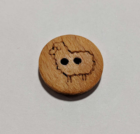 "Sheep / Lamb on Wood Button - 18mm / 11/16"" - Dill Buttons"