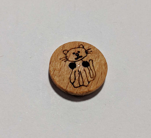 "Kitten Cat on Wood Button - 15mm / 5/8"" - Dill Buttons"