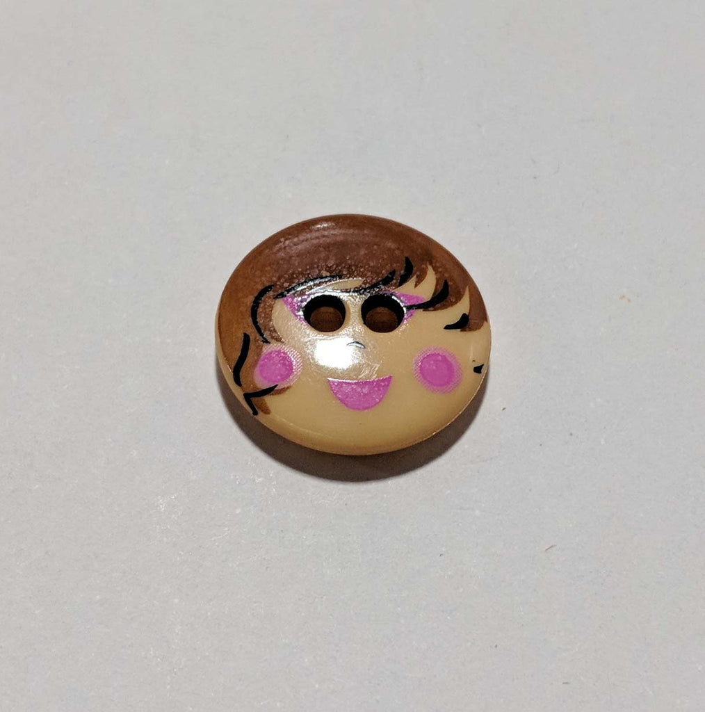 "Doll Face Plastic Button - 18mm / 11/16"" - Dill Buttons"