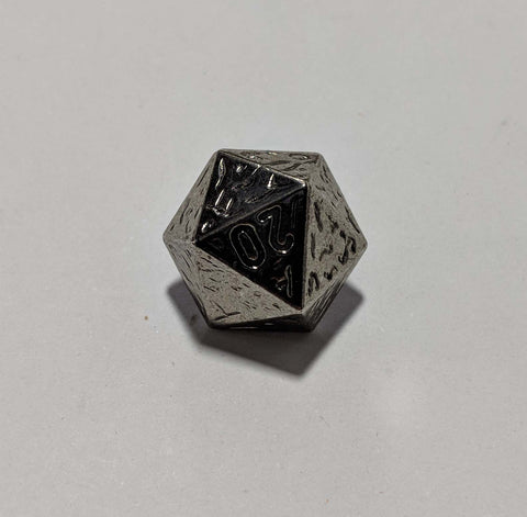 DND 20 Sided Die Dice Silver Metal Button - Dill Buttons
