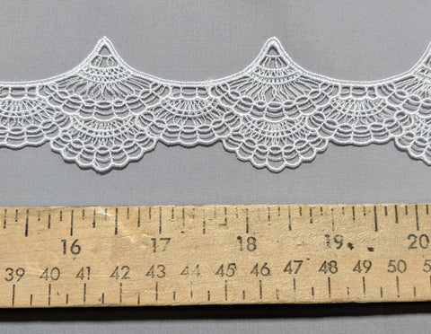 "Fans White - Guipure Bridal Lace (1-7/8"" wide)"