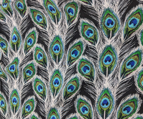 Peacock Feathers Paon Plumes Royal - Art Gallery Fabrics - 100% Rayon
