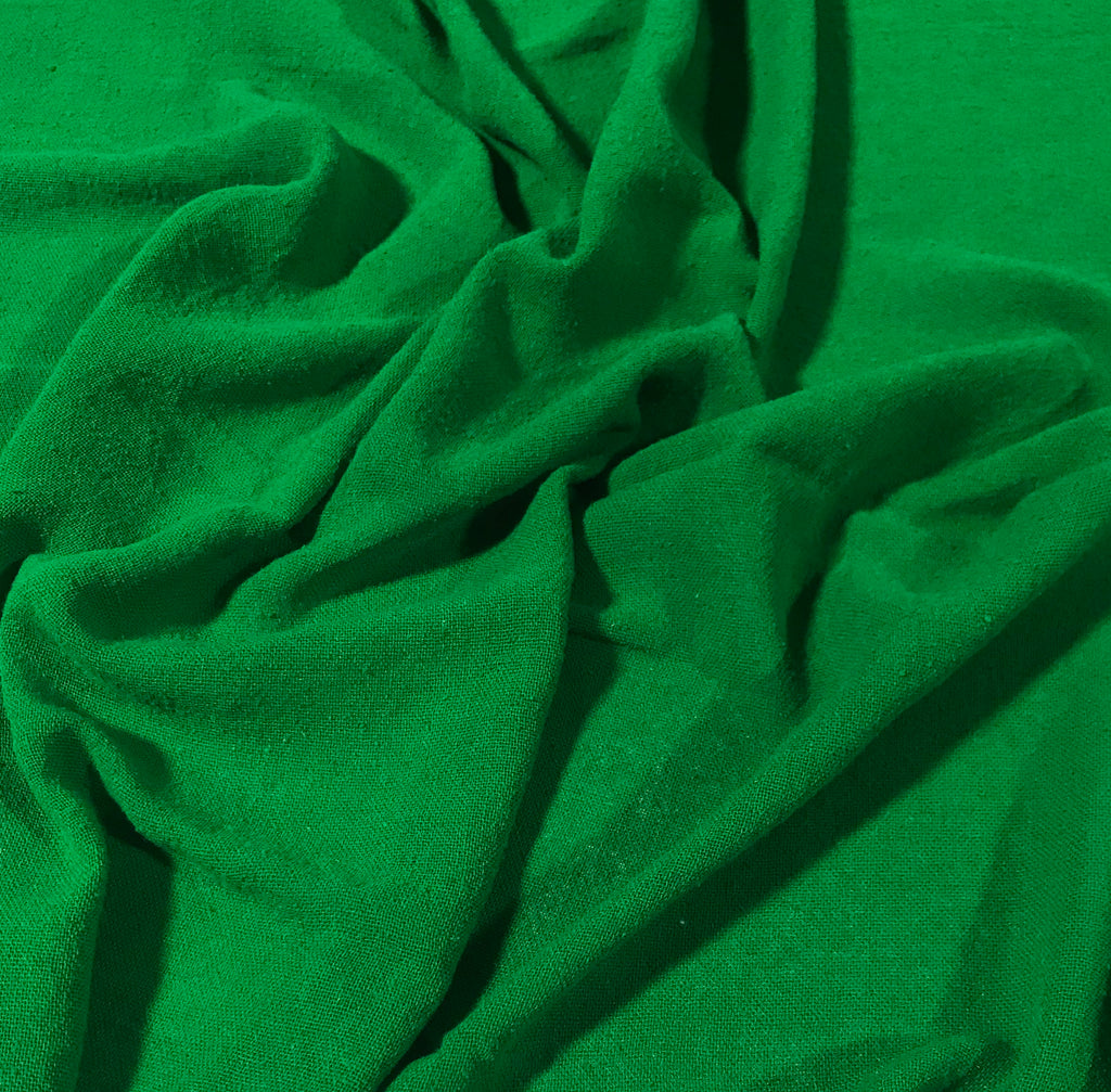Bright Kelly Green - Hand Dyed Poplin Gauze Silk Noil