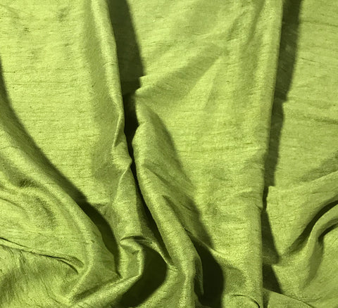 Avocado Green - Hand Dyed Silk Dupioni