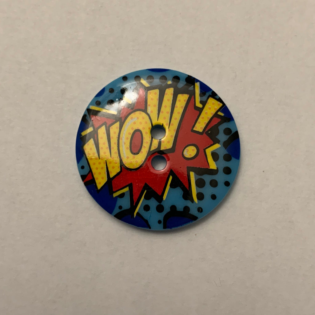 "Comic Book Wow Plastic Button - 22mm / 7/8"" - Made in France"