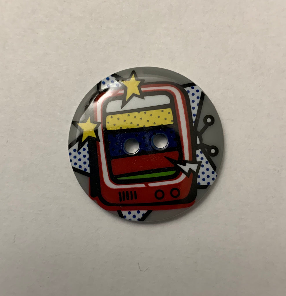 "Comic Book Television Woman Plastic Button - 22mm / 7/8"" - Made in France"