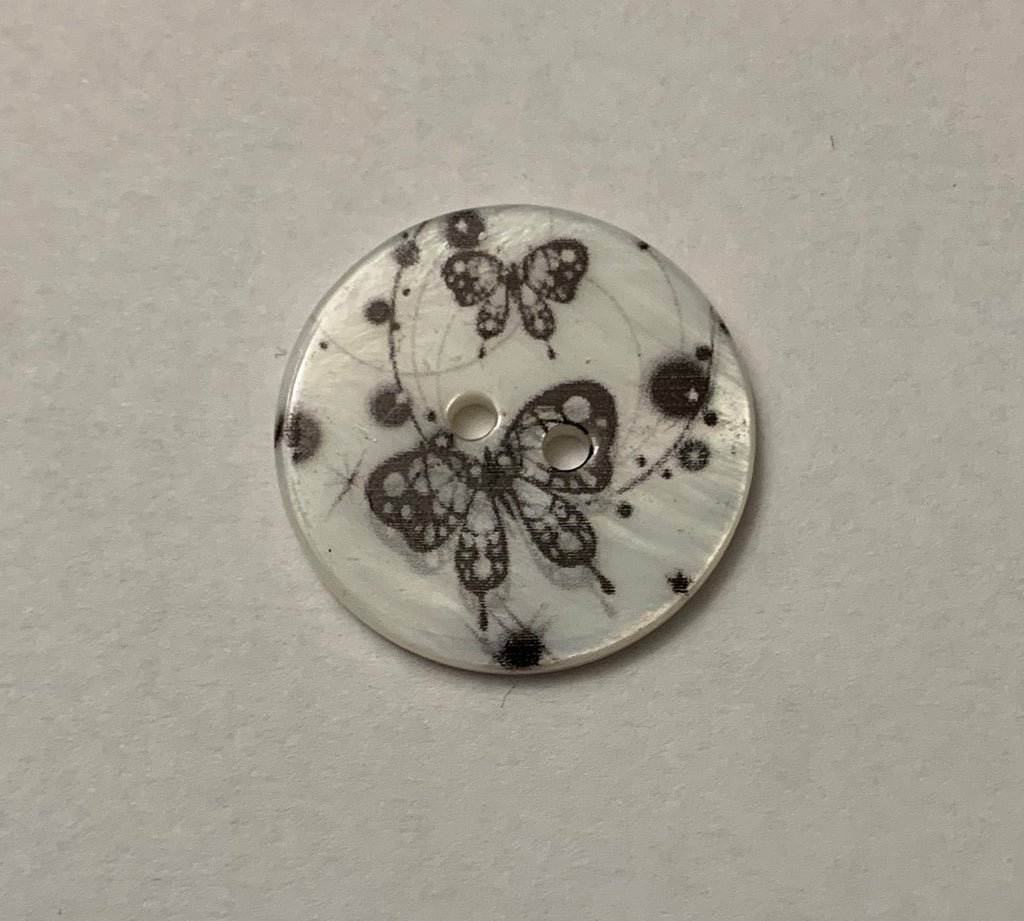 Butterflies Natural Pearl Shell Button - Made in France (2 Sizes to Choose From)