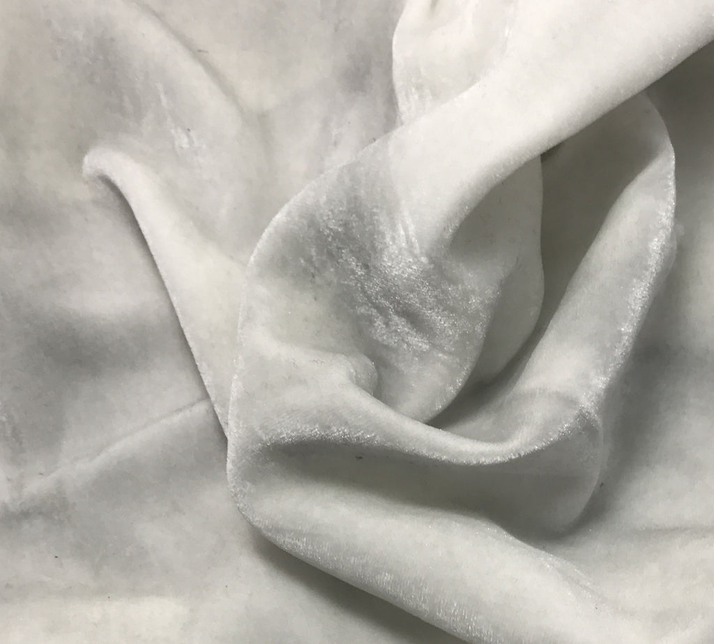 "Hand Painted Silk Velvet Fabric - Silver Dust on White (45"")"