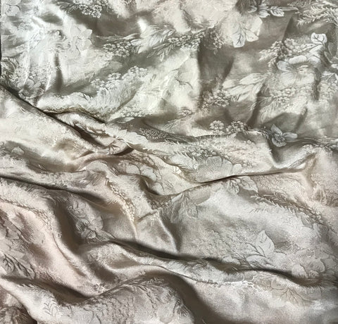 Golden Brown Floral - Hand Dyed Silk Jacquard