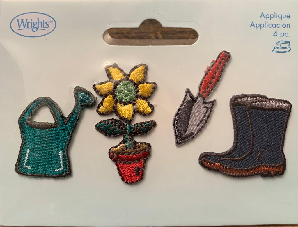 Gardening Set of 4 Iron-On Appliques by Simplicity