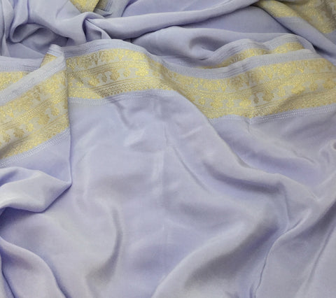 Periwinkle with Gold Embroidered Border - Silk Crepe