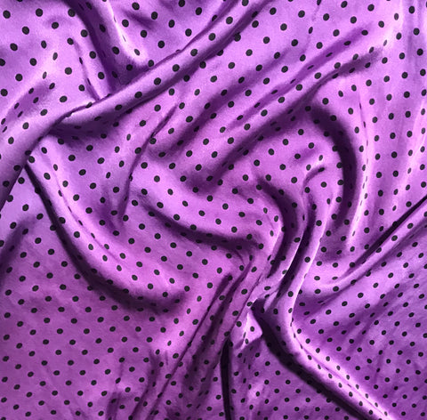 Purple & Black Polka Dots - Hand Dyed Silk Charmeuse Fabric