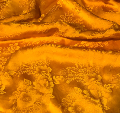 Golden Poppy Floral - Hand Dyed Silk Jacquard