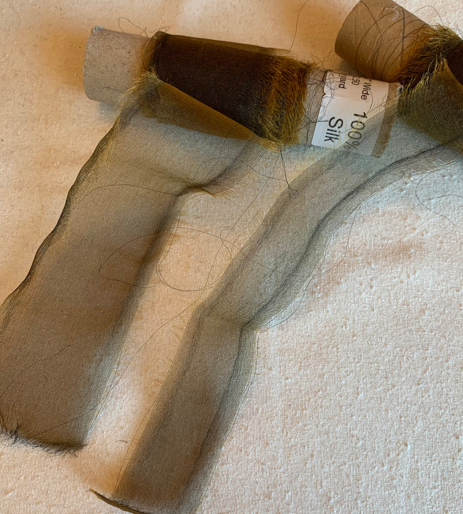 Bronze 100% Silk Sheer Organza Ribbon ( 4 Widths to choose from)